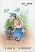 Interlitho, Emilio, CHILDREN, nostalgic, paintings, boy, girl, bank, birds(KL3701,#K#) Kinder, niños, nostalgisch, nostálgico, illustrations, pinturas