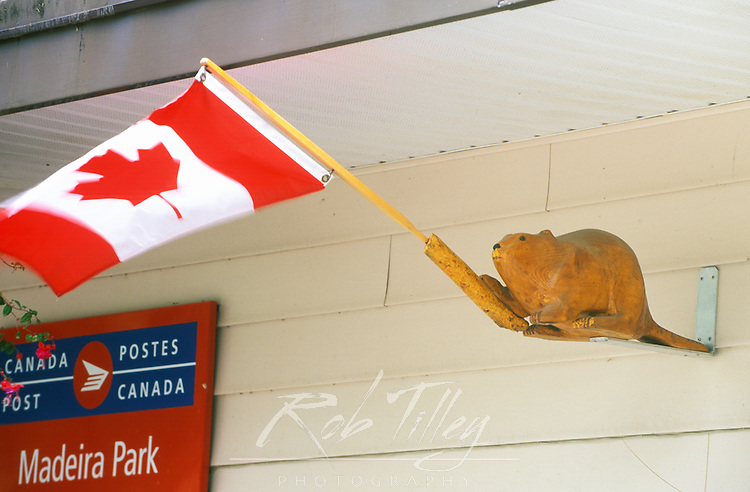 N. A., Canada, British Columbia, Madeira, Canadian Flag at Post Office