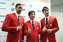 (L-R) Aska Cambridge, Kenzo Shirai, Yoshihide Kiryu (JPN), <br /> JULY 3, 2016 - Olympic : <br /> Japan National Team Send-off Party <br /> for Rio 2016 Olympic Games<br /> at 1st Yoyogi Gymnasium, <br /> Tokyo, Japan. (Photo by Yohei Osada/AFLO SPORT)