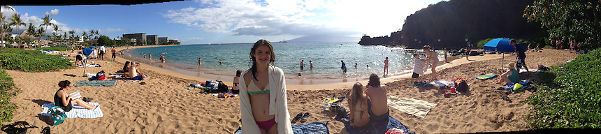 Eliza at Black Rock Beach (Panorama), Kaanapali Beach, Maui, Hawaii, US