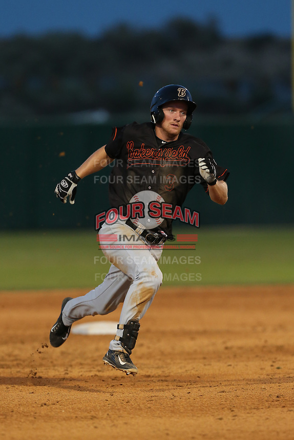 Nelson Ward (3) of the Bakersfield Blaze runs the bases during a game against the Lancaster JetHawks at The Hanger on August 5, 2015 in Lancaster, California. Bakersfield defeated Lancaster, 12-5. (Larry Goren/Four Seam Images)