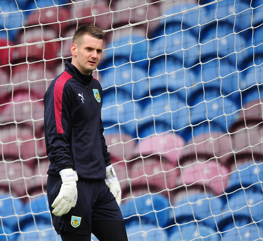 Burnley's Thomas Heaton during the pre-match warm-up <br /> <br /> Photographer Chris Vaughan/CameraSport<br /> <br /> Football - The Football League Sky Bet Championship - Burnley v Hull City - Saturday 6th February 2016 - Turf Moor - Burnley <br /> <br /> &copy; CameraSport - 43 Linden Ave. Countesthorpe. Leicester. England. LE8 5PG - Tel: +44 (0) 116 277 4147 - admin@camerasport.com - www.camerasport.com