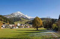 Oesterreich, Salzburger Land, Pongau, Filzmoos vor dem Dachsteingebirge | Austria, Salzburger Land, Pongau, Filzmoos and Dachstein Mountain Range