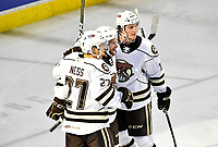 HERSHEY, PA - DECEMBER 01: Hershey Bears defenseman Aaron Ness (27) and center Mike Sgarbossa (17) celebrate with left wing Nathan Walker (12) after his second goal fo the game during the Springfield Thunderbirds at Hershey Bears on December 1, 2018 at the Giant Center in Hershey, PA. (Photo by Randy Litzinger/Icon Sportswire)