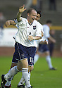 13/08/2002                   Copyright Pic : James Stewart.File Name : stewart-alloa v ross cty 07.COUNTY'S STEVEN FERGUSON STARTS THE CELEBRATION WITH TEAM MATE STEVEN MACKAY AFTER ALLOA'S BROWN FERGUSON SCORED INTO HIS OWN NET....Payments to :-.James Stewart Photo Agency, 19 Carronlea Drive, Falkirk. FK2 8DN      Vat Reg No. 607 6932 25.Office     : +44 (0)1324 570906     .Mobile  : +44 (0)7721 416997.Fax         :  +44 (0)1324 570906.E-mail  :  jim@jspa.co.uk.If you require further information then contact Jim Stewart on any of the numbers above.........