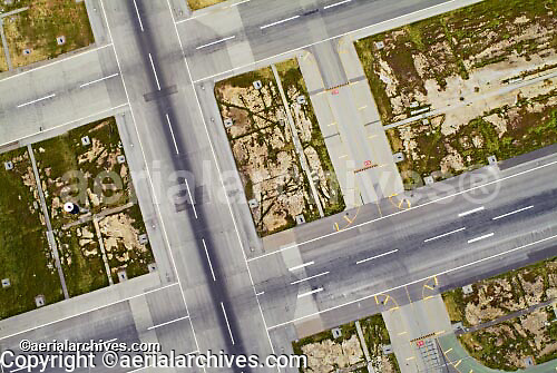 aerial photograph of intersecting runways San Francisco International airport SFO