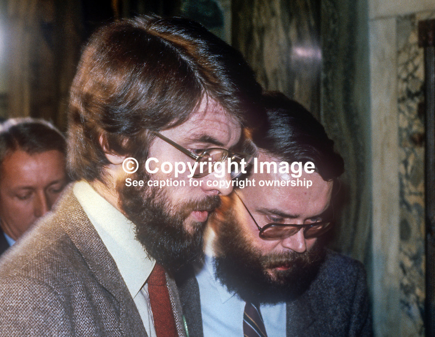 Sinn Fein president Gerry Adams, left, who was one of five party candidates, who won seats for the first time in the N Ireland Assembly in the October 1982 election. He is pictured with prominent party member Tom Hartley. 198210200154GA+TH/B<br />