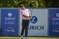 Jason Dufner (USA) watches his tee shot on 18 during Round 1 of the Zurich Classic of New Orl, TPC Louisiana, Avondale, Louisiana, USA. 4/26/2018.<br /> Picture: Golffile | Ken Murray<br /> <br /> <br /> All photo usage must carry mandatory copyright credit (&copy; Golffile | Ken Murray)