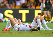 2nd December 2017, Brisbane, Australia;  Rugby League World Cup - England versus Australia - Land Park, Brisbane, Australia . England players react after losing to Australia in the final.