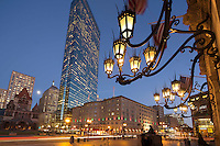 Public Library sconces, Copley Square night, Hancock Tower, Boston, MA Back Bay, Copley Plaza Hotel