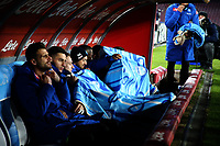 The players of napoli on the bench with blankets to protect themselves from the cold <br /> Napoli 13-01-2019  Stadio San Paolo <br /> Football Calcio Coppa Italia 2018/2019 round of 16  <br /> Napoli - Sassuolo<br /> Foto Cesare Purini / Insidefoto