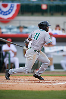 Daytona Tortugas designated hitter Malik Collymore (11) follows through on a swing during a game against the Florida Fire Frogs on April 8, 2018 at Osceola County Stadium in Kissimmee, Florida.  Daytona defeated Florida 2-1.  (Mike Janes/Four Seam Images)