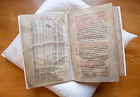 BNPS.co.uk (01202 558833)<br /> Pic: PhilYeomans/BNPS<br /> <br /> One page contains the calculations for the date of Easter, starting with 969 and so helping to date the manuscript accurately...<br /> <br /> Woman's touch - 1000 year old book from the Royal Anglo-Saxon Convent of Wilton is conserved.<br /> <br /> The ancient book was returned safely to Salisbury Cathedral after fears of a lockdown led to a hastily arranged emergency dash from the conservators in Cambridge.<br /> <br /> Dating from the 10th century the incredibly rare Psalter is fascinating to medieval scholars for two reasons - it is thought to have been used and adapted by women, and it's latin text has been annotated into early English to aid the understanding of the Anglo Saxon noviates who would have studied it.<br /> <br /> Prof Teresa Webber from Cambridge University notes  'The vast majority of surviving medieval monastic manuscripts survive from communities of monks or canons, but at some point early in its history this psalter was clearly adapted for use by a woman, only a handful of such manuscripts survive to this day'.<br /> <br /> This is likely to indicate the book was in use by the nuns of the Benedictine Convent at nearby Wilton expanded by Alfred the Great after a famous victory against the Viking invaders in 871.