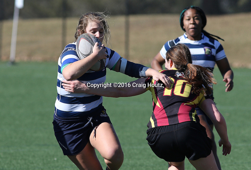 Penn State women's rugby Gabby Cantorna en route to scoring a try against Bloomsburg women's rugby on Feb. 28, 2016. Penn State won 104-7. Photo/© 2016 Craig Houtz
