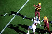 Nov. 28, 2009; Tempe, AZ, USA; Arizona State Sun Devils quarterback (10) Samson Szakacsy throws a pass against the Arizona Wildcats at Sun Devil Stadium. Arizona defeated Arizona State 20-17. Mandatory Credit: Mark J. Rebilas-