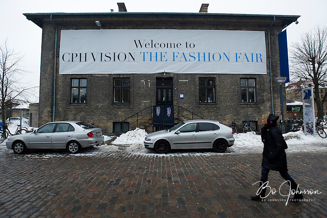 CPH Vision Fashion Fair (www.cphvision.dk) in Oksnehallen welcoming international fashionistas in a cold, wet and snowy Copenhagen. Copenhagen Fashion Week AW10, Denmark.<br /> February -10.<br /> Only for editorial use.