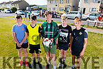 Luke Bowler, Jordan Goggin, Luke McCrohan, Eric Walsh and Seamie Foran taking part in the 5 a side soccer tournament at the Ballyheigue Summer Festival on Monday.