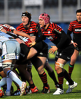 Hendon, England. Nick Fenton-Wells of Saracens pushes the scrum during the LV= Cup match for the first professional rugby game on the artificial turf pitch made for rugby between Saracens and Cardiff Blues at Allianz Park Stadium on January 27, 2013 in Hendon, England.