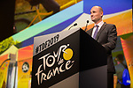 Jean-Etienne Amaury, President A.S.O, speaks at the Tour de France 2019 route presentation held at Palais de Congress, Paris, France. 25th October 2018.<br />