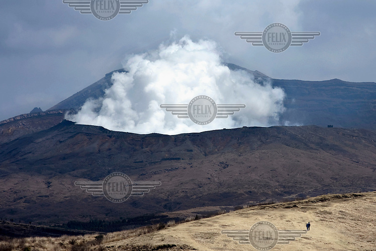 Steam and toxic gas emissions rise from the Naka-dake crater an active volcano within the Aso-Kuju National Park. /Felix Features