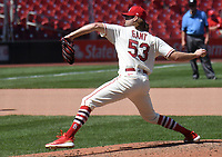 25th July 2020, St Louis, MO, USA;  St. Louis Cardinals pitcher John Gant (53) pitches in relief during a Major League Baseball game between the Pittsburgh Pirates and the St. Louis Cardinals
