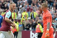 Marko Arnautovic of West Ham scores the second Goal and celebrates and smiles at Jordan Pickford during West Ham United vs Everton, Premier League Football at The London Stadium on 13th May 2018