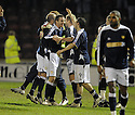11/02/2008    Copyright Pic: James Stewart.File Name : sct_jspa17_motherwell_v_dundee.DUNDEE PLAYERS CELEBRATE AT THE END OF THE GAME.James Stewart Photo Agency 19 Carronlea Drive, Falkirk. FK2 8DN      Vat Reg No. 607 6932 25.Studio      : +44 (0)1324 611191 .Mobile      : +44 (0)7721 416997.E-mail  :  jim@jspa.co.uk.If you require further information then contact Jim Stewart on any of the numbers above........