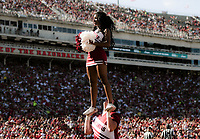 NWA Democrat-Gazette/CHARLIE KAIJO Arkansas Razorbacks cheerleaders cheer during the second quarter of a football game, Saturday, September 15, 2018 at Donald W. Reynolds Razorback Stadium in Fayetteville.