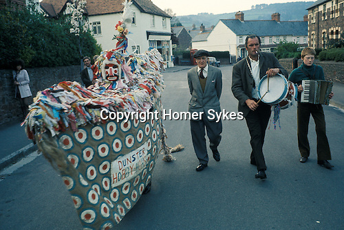 Dunster Hobby Horse Minehead, Somerset Uk. Warning Eve April 30th. 1970s.