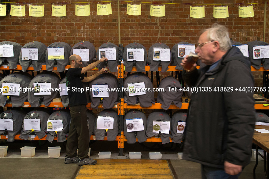 11/02/15<br /> <br /> The opening of the largest ever National Winter Ales Festival - Britain's biggest beer festival - at The Roundhouse, Derby will see an expected 12,000 visitors supping their way through a record-breaking 468 barrels of British beers, 1000 bottles of continental beers, 520 pints of mead, and 60 five-gallon containers of perry and cider before the festival closes on Saturday night.<br /> <br /> <br /> All Rights Reserved - F Stop Press.  www.fstoppress.com. Tel: +44 (0)1335 418629 +44(0)7765 242650