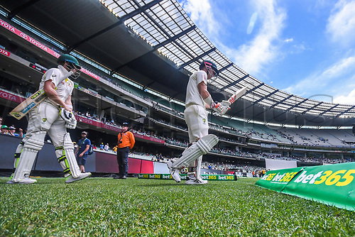 30th December 2017, Melbourne Cricket Ground, Melbourne, Australia; The Ashes Series, fourth test, day 5, Australia versus England; Steve Smith and David Warner of Australia head out to bat