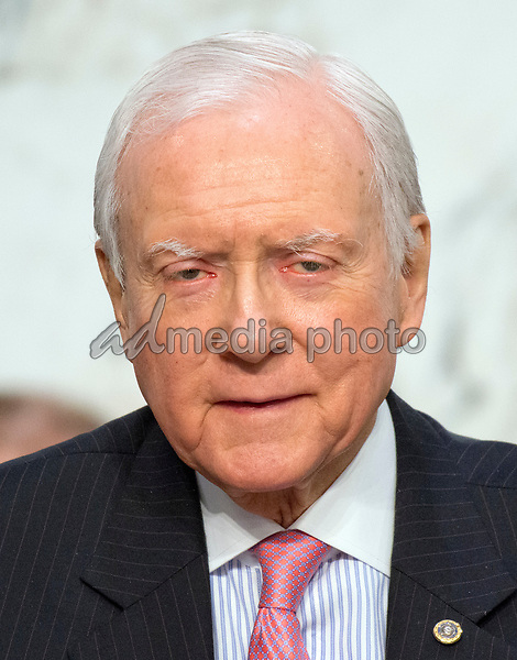 United States Senator Orrin Hatch (Republican of Utah) listens as Judge Neil Gorsuch testifies before the United States Senate Judiciary Committee on his nomination as Associate Justice of the US Supreme Court to replace the late Justice Antonin Scalia on Capitol Hill in Washington, DC on Tuesday, March 21, 2017.  Senator Hatch serves as the President pro tempore of the United States Senate, which is third in the line of presidential succession. Photo Credit: Ron Sachs/CNP/AdMedia