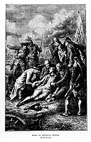 FILE IMAGE - Death of General Wolfe September 13, 1759 during the Battle of the Plains of Abraham<br /> <br /> Drawing by LIX