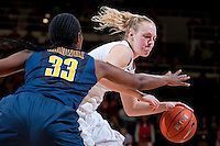 STANFORD, CA-JANUARY 28, 2011: Taylor Greenfield works past the block during a 74-71 overtime win over the Cal Bears.