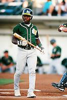 Esteban German of the Modesto A's during a California League baseball game circa 1999. (Larry Goren/Four Seam Images)