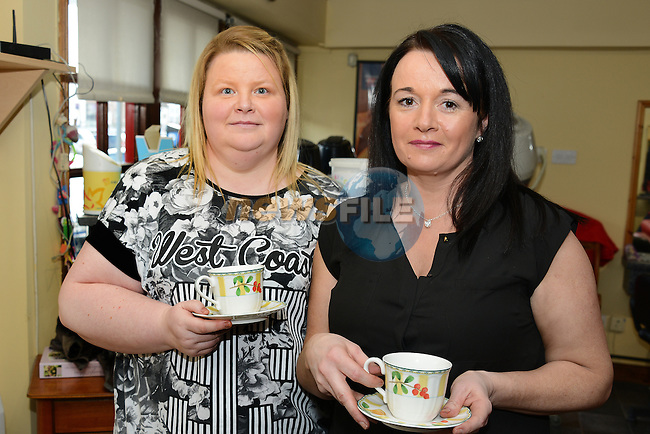 Lorraine Reilly and Breda Stanley at the Cut Above Coffee fundraiser for the Chance for Alice campaign. www.newsfile.ie