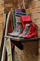 Colorful leather boots for sale, Pienza, Italy