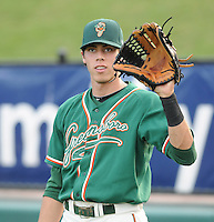 Outfielder Christian Yelich (7) of the Greensboro Grasshoppers prior to a game against the Greenville Drive on April 26, 2011, at Fluor Field at the West End in Greenville, South Carolina. Yelich was a first-round pick by the Florida Marlins in the 2010 First-Year Player Draft. (Tom Priddy/Four Seam Images)
