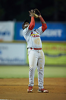 Johnson City Cardinals third baseman Malcom Nunez (54) catches a pop fly during the game against the Burlington Royals at Burlington Athletic Stadium on September 3, 2019 in Burlington, North Carolina. The Cardinals defeated the Royals 7-2 to even Appalachian League Championship series at one game a piece. (Brian Westerholt/Four Seam Images)