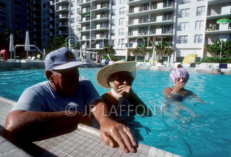 Miami, Florida, U.S.A, September, 1980. America severely marked by the recession.  In Miami Beach where there is great concentration of old people, they live in hotel rooms or furnished apartments. They spent most of their time indoors from fear of being attacked or being robbed.