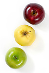 Three colorful apples Red green and yellow Isolated on white background