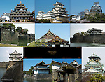 Castles of Japan Composite Image Okayama Castle Himeji Castle Nijo Castle Moat Ninomaru Palace Nijo Castle Inui Yagura Sengan Yagura Osaka Castle Tatsumi Yagura Hikaebashira Shimizumon Imperial Palace Osaka Castle