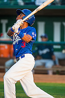 Deion Ulmer (3) of the Ogden Raptors at bat against the Helena Brewers in Pioneer League action at Lindquist Field on August 19, 2015 in Ogden, Utah.Ogden defeated Helena 4-2.   (Stephen Smith/Four Seam Images)