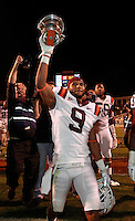 CHARLOTTESVILLE, VA- NOVEMBER 12: Cornerback Cris Hill #9 of the Virginia Tech Hokies celebrates with teammates after the 38-0 win over the Virginia Cavaliers on November 28, 2011 at Scott Stadium in Charlottesville, Virginia.  (Photo by Andrew Shurtleff/Getty Images) *** Local Caption *** Cris Hill