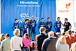 Joker Icopal team at sign on before the start Stage 1 of the 2018 Artic Race of Norway, running 184km from Vadso to Kirkenes, Norway. 16th August 2018. <br /> <br /> Picture: ASO/Gautier Demouveaux | Cyclefile<br /> All photos usage must carry mandatory copyright credit (&copy; Cyclefile | ASO/Gautier Demouveaux)