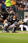 Chicago White Sox catcher A.J. Pierzynski (12) during a game vs. the Detroit Tigers at U.S. Cellular Field in Chicago, Illinois August 13, 2010.   Chicago defeated Detroit 8-4.  Photo By Mike Janes/Four Seam Images
