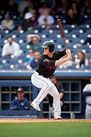 Nashville Sounds second baseman Joey Wendle (13) at bat during a game against the New Orleans Baby Cakes on May 1, 2017 at First Tennessee Park in Nashville, Tennessee.  Nashville defeated New Orleans 6-4.  (Mike Janes/Four Seam Images)