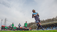 Players warm up during the Sky Bet League 2 match between Wycombe Wanderers and Crawley Town at Adams Park, High Wycombe, England on 28 December 2015. Photo by Andy Rowland / PRiME Media Images