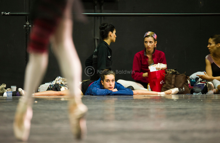 English National Ballet. 3 Mills studio. Swan Lake rehearsals