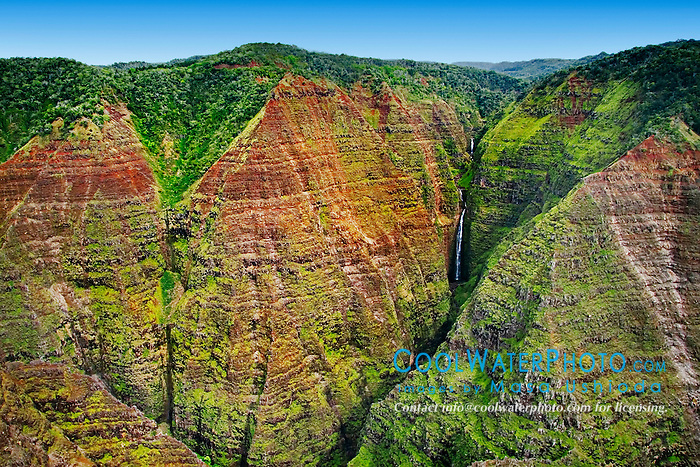"Mohihi Falls, 360 feet or 110 meters high in total, Waimea Canyon, the ""Grand Canyon of the Pacific"", approximately one mile wide and ten miles long, more than 3,500 feet deep, State Park, Kauai, Hawaii"